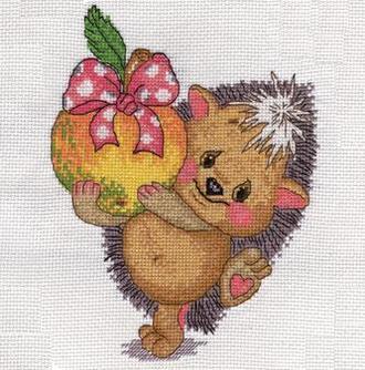 """Набор для вышивания крестиком """"Кларт"""" - Ежик с яблоком"""